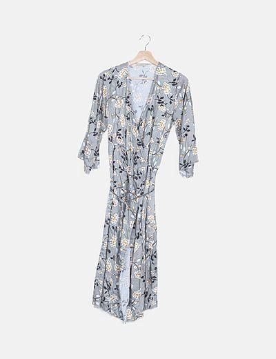 Vestido satinado gris floral cruzado
