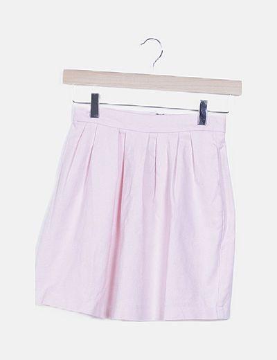 Falda pinzas rosa