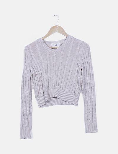 Jersey tricot beige texturizado
