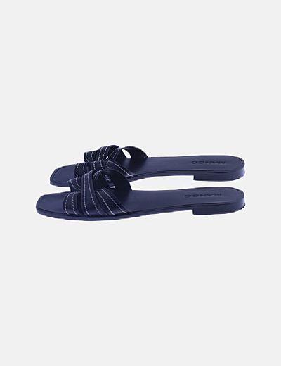 Sandalia polipiel negra