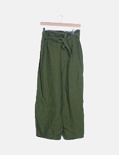 Pantalón fluido verde campana