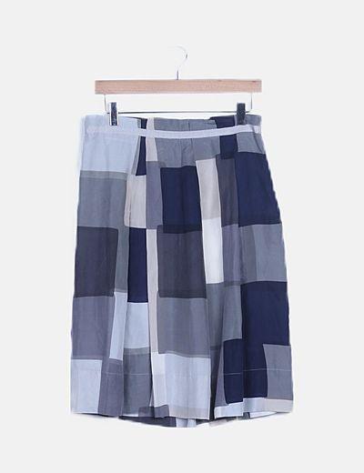 Falda midi multicolor estampada