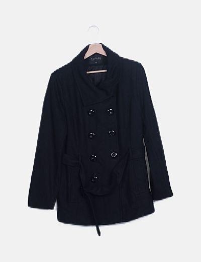 Abrigo paño negro cinturón