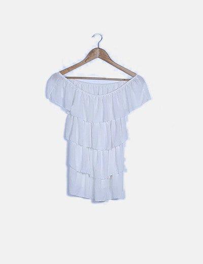 Blusa bardot blanca volantes