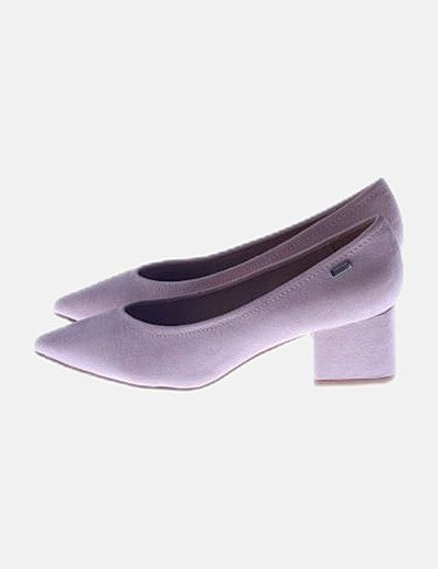 Zapato antelina rosa