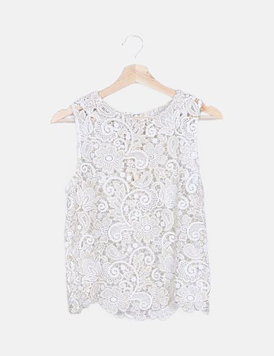 Blusa crochet blanca hilos dorados
