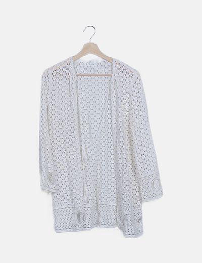 Kimono crochet blanco