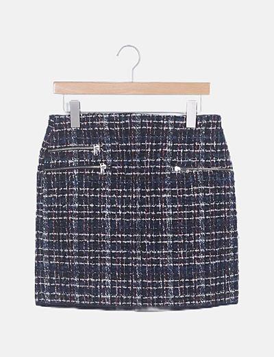 Falda mini tweed con cremallera