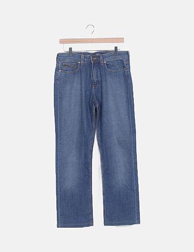 Pantalón denim recto azul