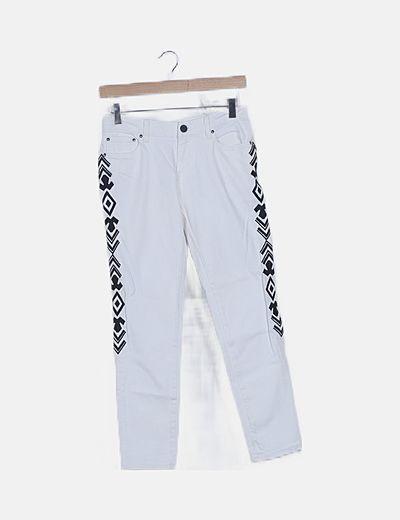Jeans denim blanco franja étnica