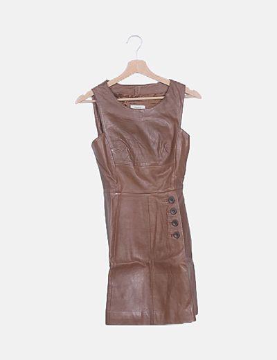 Vestido marrón polipiel
