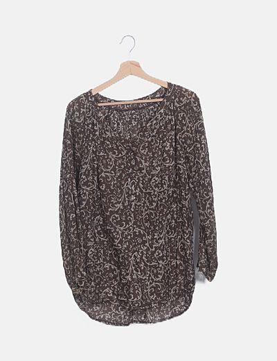 Blusa marrón estampado combinado