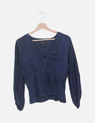 Blusa azul marino satinada