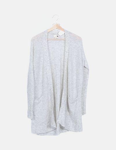Cárdigan lana gris jaspeada