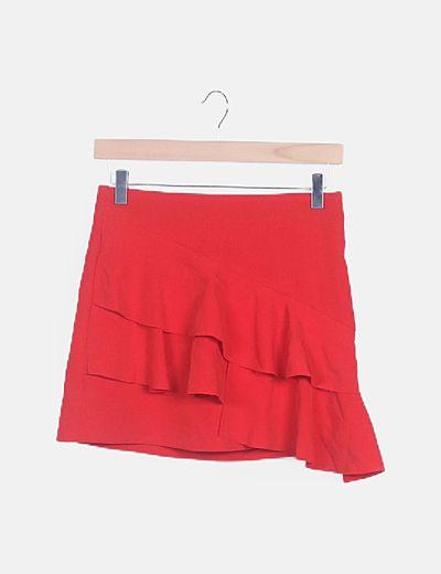 Mini falda roja con volantes