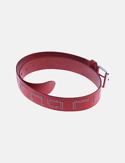 Cinturón rojo polipiel con strass