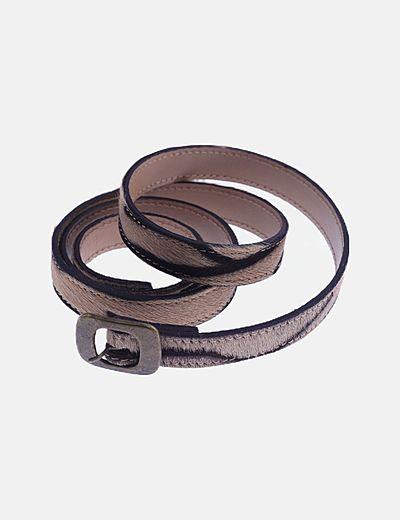 Cinturón marrón animal print