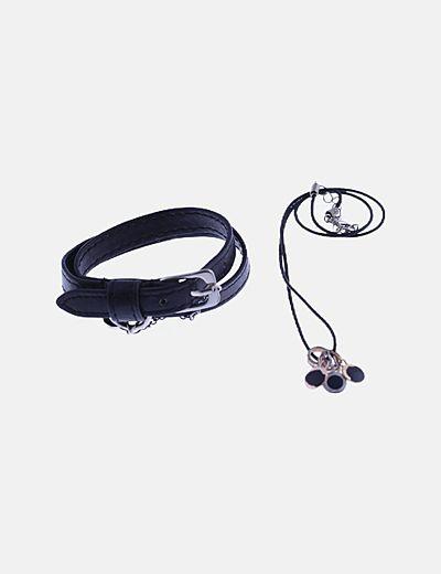 Pack colgante y pulsera negro