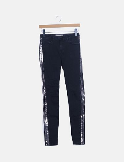 Jeans negro banda plateada