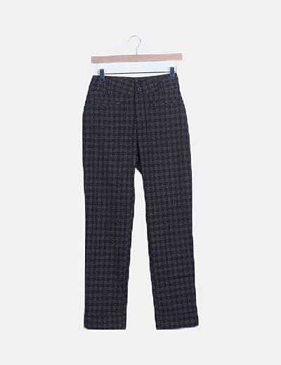 Pantalón chino cuadros marrón