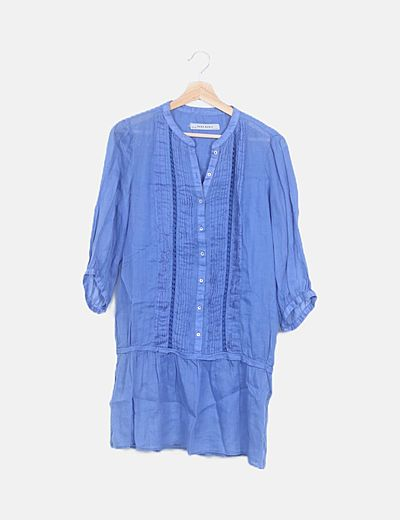 Vestido azul detalles plisados