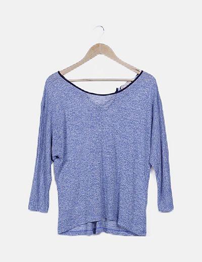 Jersey azul jaspeado lazo espalda
