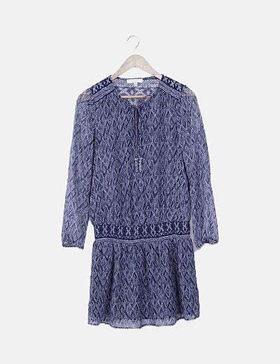 Vestido gasa azul estampado