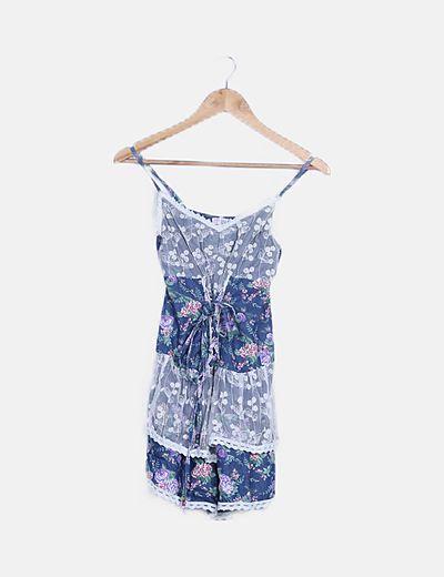 Vestido multicolor print floral detalles bordados