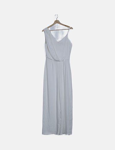 Vestido asimétrico satén blanco