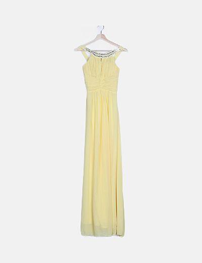 Vestido amarillo detalle abalorios