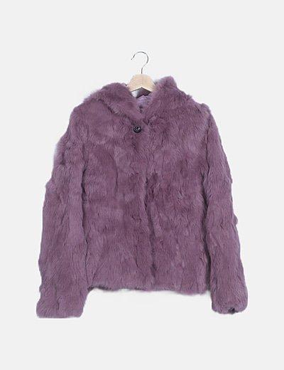 Chaquetón pelo lila con capucha