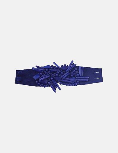 Pulsera brazalete azul con piedras