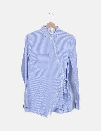 Camisa cruzada rayas azules