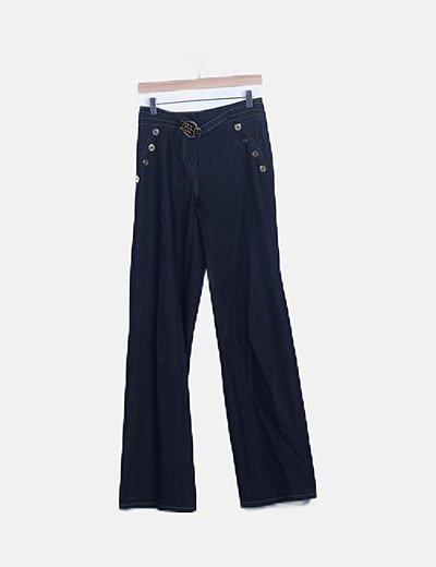 Pantalón denim ancho detalle cinturón
