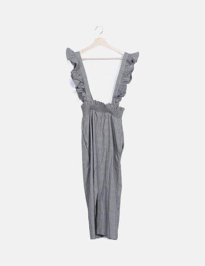 Vestido tirantes gris cuadro galés