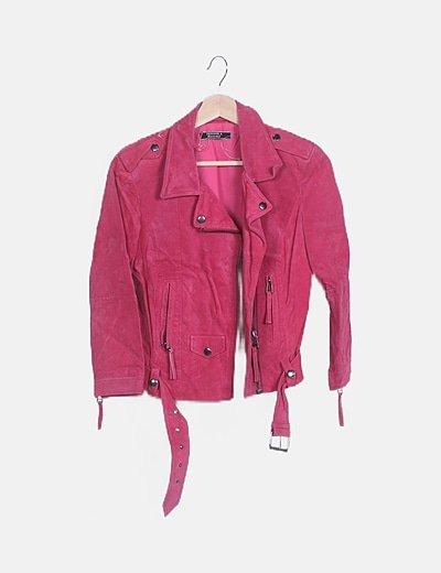 Cazadora biker ante rosa