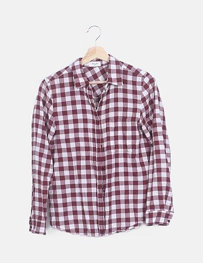 Camisa burdeos de cuadros