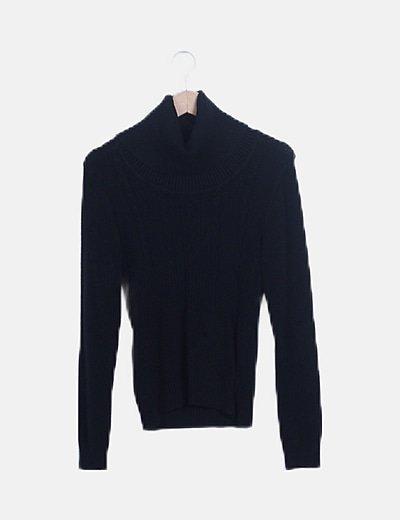 Jersey punto negro cuello alto