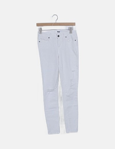 Jeans denim blanco ripped