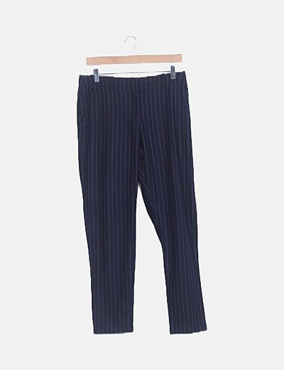 Pantalón chino negro rayas