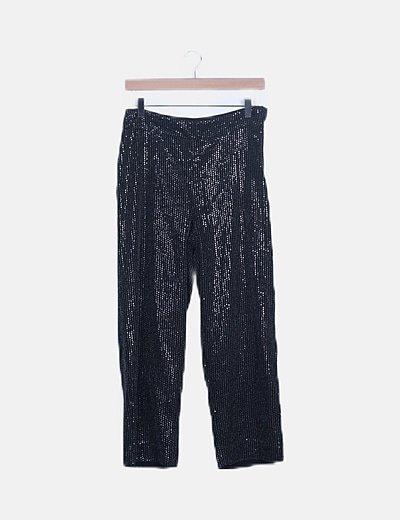 Pantalón fluido negro con paillettes