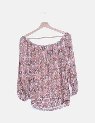 Blusa semitransparente estampada