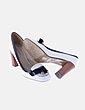 Zapato blanco tacón detalles negro MLLC