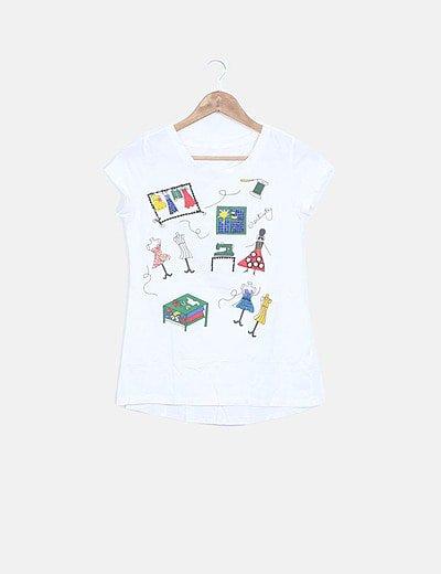 Camiseta blanca print costura