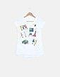 Camiseta blanca print costura NoName