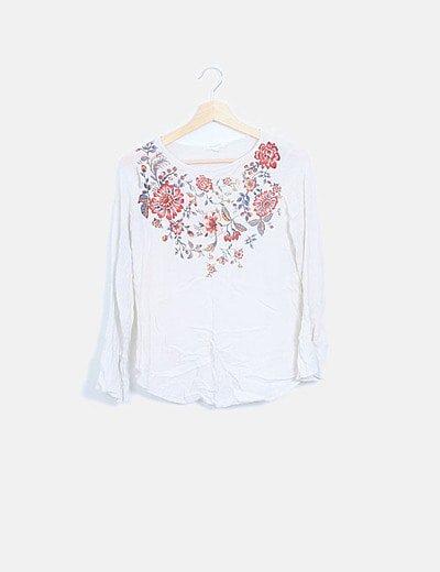Blusa estampada floral manga larga