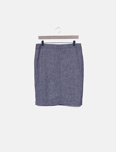Falda midi gris estructurada glitter
