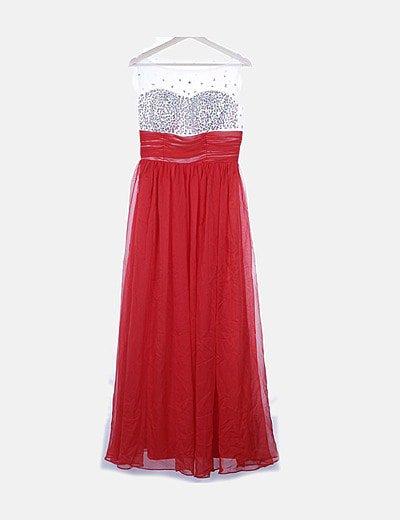 Vestido blanco y rojo escote strass