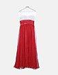 Vestido blanco y rojo escote strass NoName