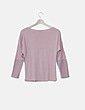 Blusa rosa combinada estampado floral troquelado Suiteblanco